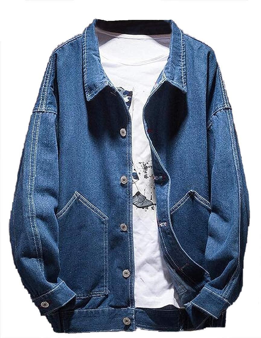 937bb317 Dark blueee Etecredpow Men's Men's Men's Washed RelaxedFit Faded Long  Sleeve Jean Denim Button Up Jackets Coat d4aef3