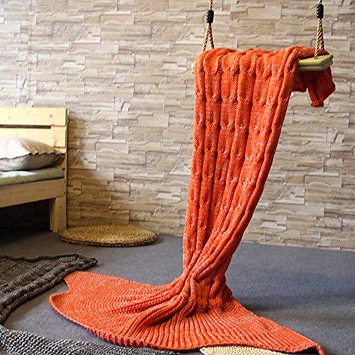 Mermaid Tail Blanket, Prosshop Mermaid Crochet Blanket for Adult and Kids, All Season Sleeping Bag (39''×63'', Orange)
