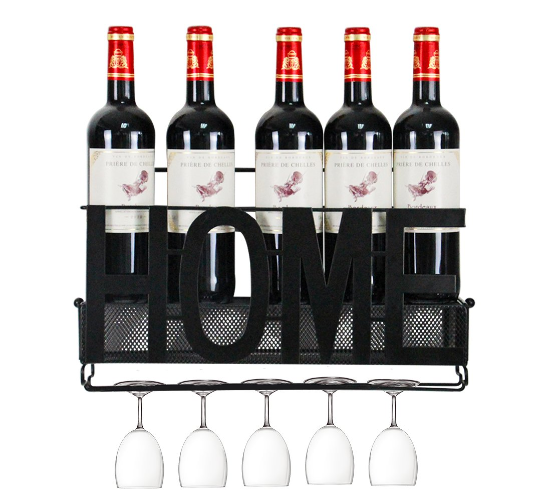 PAG Wall Mounted Metal Wine Racks with Glass Holder and Wine Cork Storage, Home & Kitchen Decor,5 Bottles,Black Hongsheng
