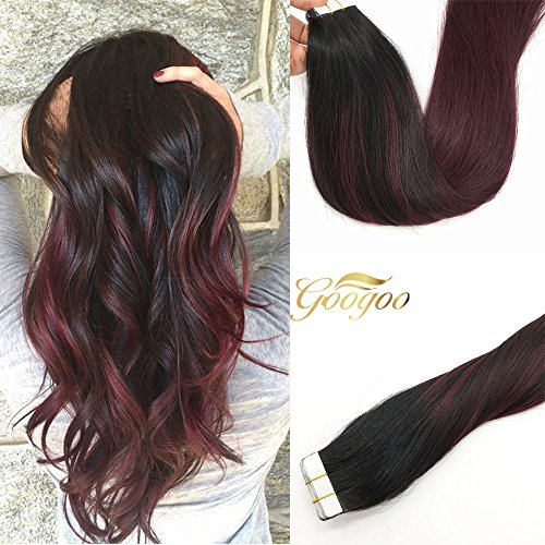 Googoo 18 inch Ombre Tape in Hair Extensions Balayage Black to Red Seamless Skin Weft Tape in Remy Hair Extensions 20 pcs 50g
