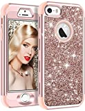 iPhone SE Case, iPhone 5S Case, Vofolen iPhone SE Case Glitter Bling Shiny Heavy Duty Protection Full-body Protective Cover Hard Shell Hybrid Rubber Armor + Front Bumper for iPhone 5 5S SE - Rose Gold