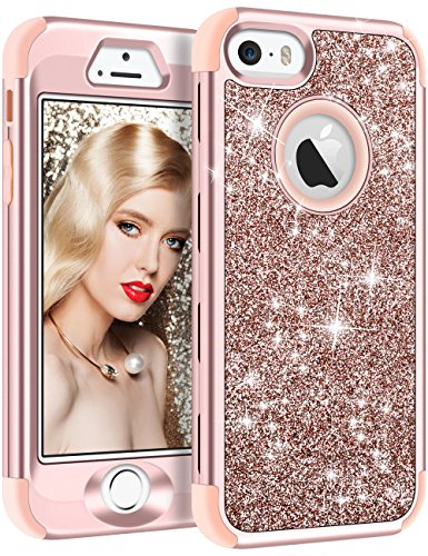 Vofolen Case for iPhone SE Case iPhone 5S Case Glitter Bling Shiny Heavy Duty Protection Full-Body Protective Cover Hard Shell Hybrid Silicone Rubber Armor + Front Bumper for iPhone 5 5S SE Rose Gold