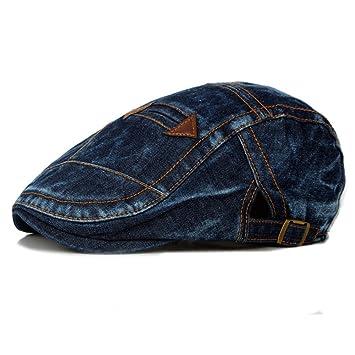 Scrox 1x Hombre Mujer Sombreros Gorras Boinas Moda Vintage Flat Cap Casual Unisex Otoño Invierno Outdoor Algodón Ocio Hat Sombrero de Vaquero (Azul Oscuro): ...