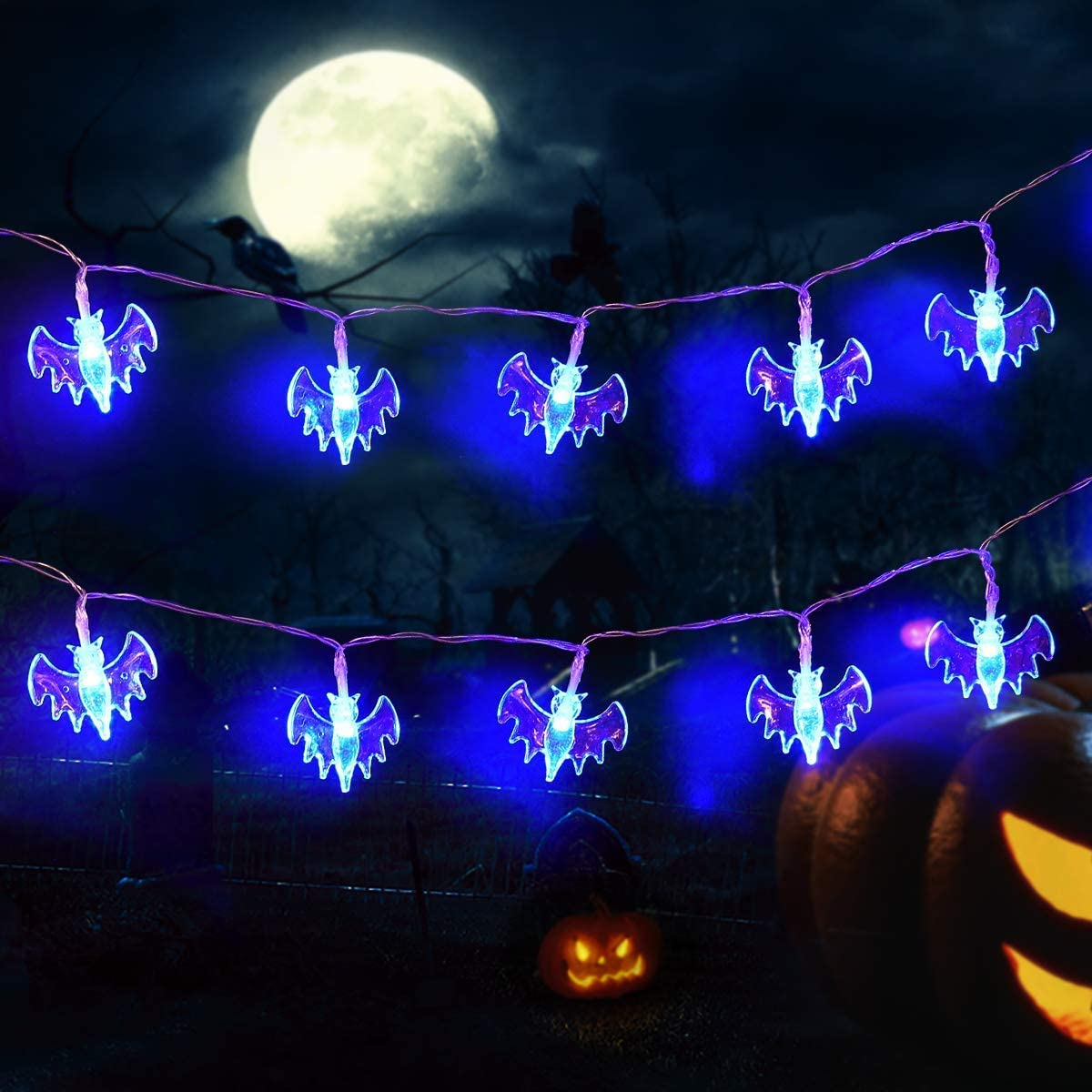 Halloween Bat String Lights, LED Waterproof Decoration String Lights For Halloween Party Holiday Yard Decorations Decor,Halloween Night Light