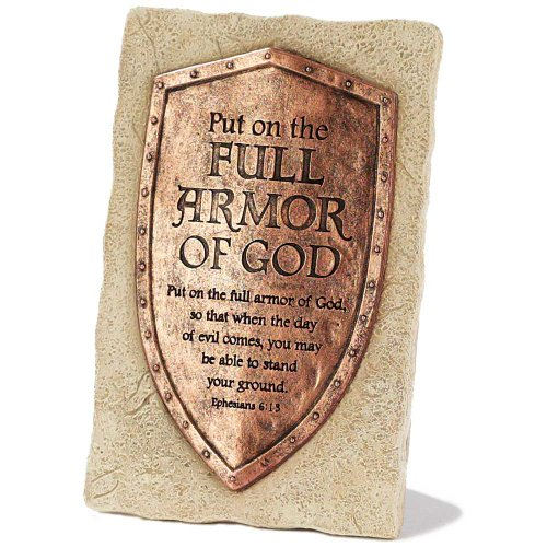 Dicksons Antique Copper Look Full Armor Ephesians 6:13 Resin Stone 6 inch Table Sign Plaque