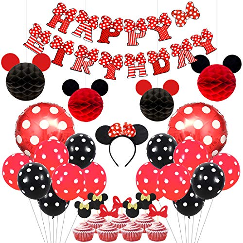 Kreatwow Mickey and Minnie Party Supplies Red and Black Ears Headband Happy Birthday Banner Polka Dot Balloons Set for Minnie Themed Party Decorations (Red And Black Minnie Mouse Birthday Invitations)