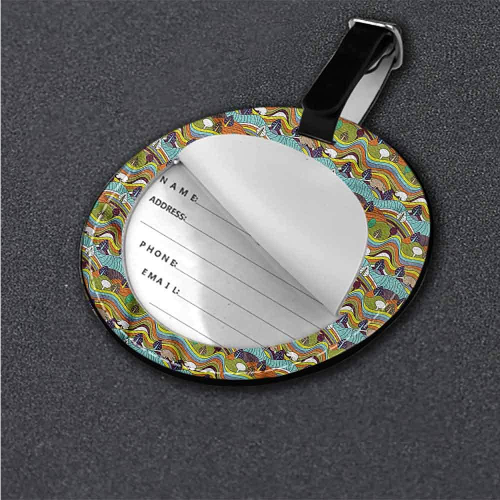 Cute Luggage Tag Cartoon,Panoramic Hills Trees Label Travel Accessories