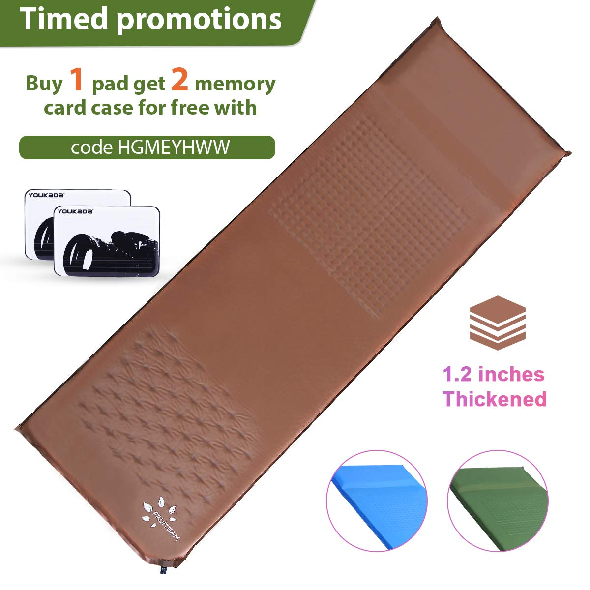 FRUITEAM Sleeping pad with Pillow self Inflating Camping pad Lightweight Foam pad Large Backpacking air Mattress by FRUITEAM