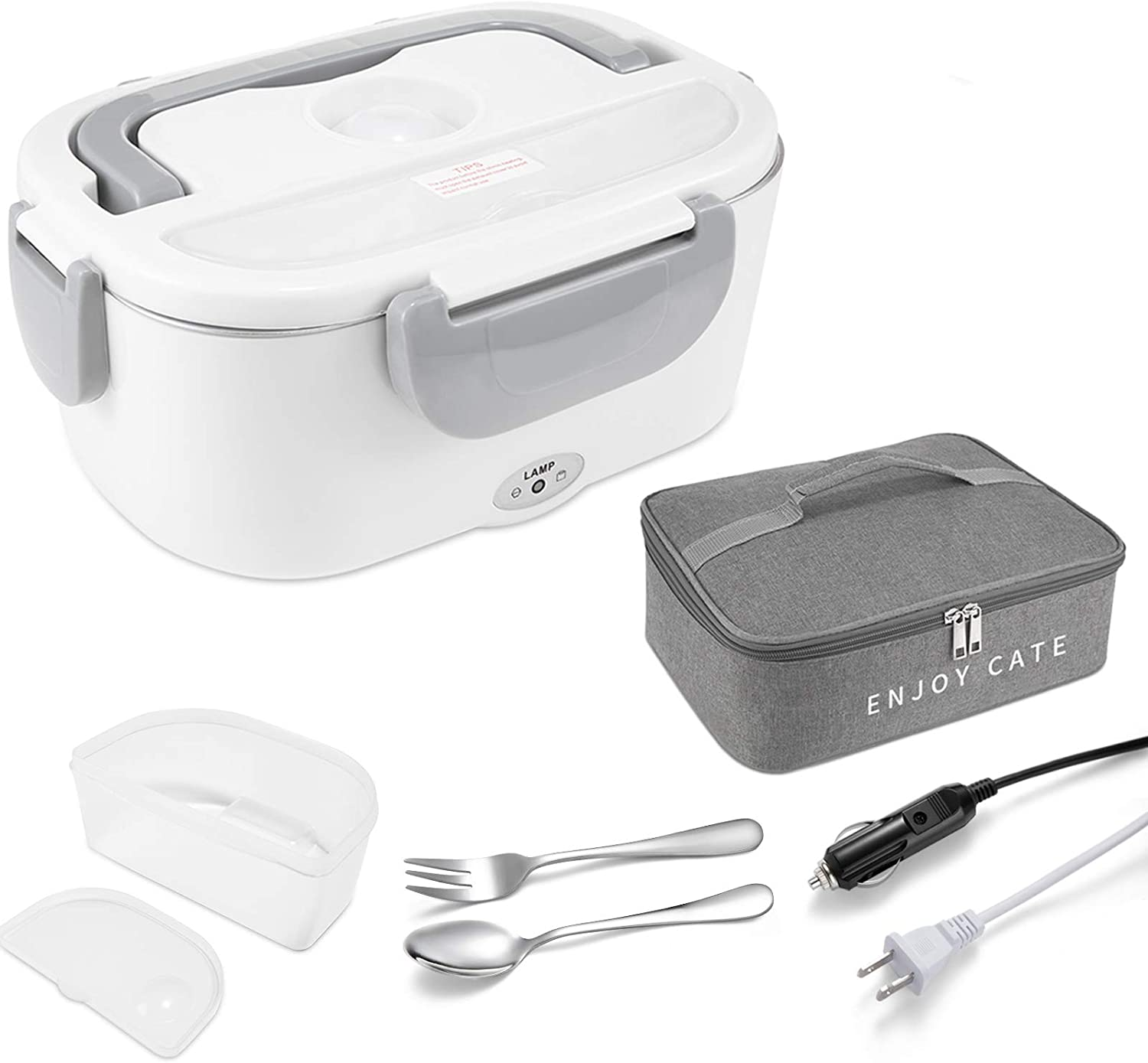 Electric Lunch Box , Portable 2 In 1 Lunch Boxes Food Heater for Car Truck Office, Removable 304 Stainless Steel Food Warmer Container,SS fork & spoon and Carry Bag