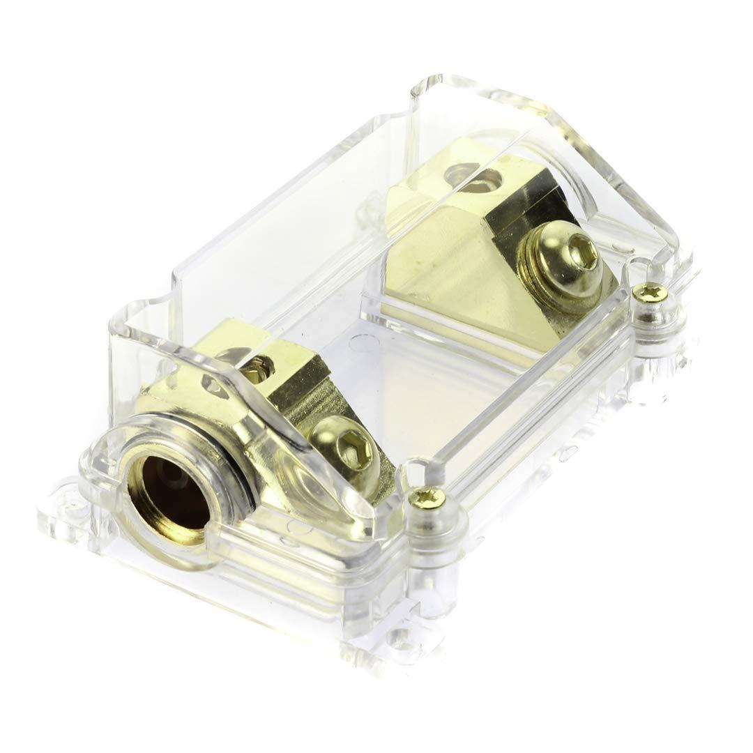 w// 45 Deg Angled Cover 1 Pack 12Volt Distributors VOODOO Gold Fuse Holder 2//0 or 1//0 0 Gauge