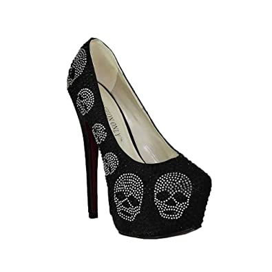 30bd49df45d0 Prom Shoes For Women Designer High Heels Ladies Platform Bridal Shoes  Embellished Skull Party Wedding Diamante