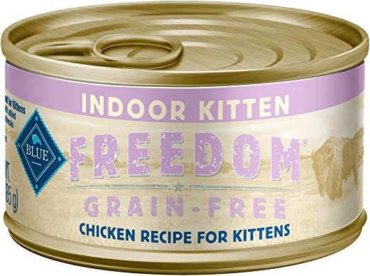 Blue Buffalo Freedom Grain Free Natural Kitten Pate Wet Cat Food, Indoor Chicken 3-oz cans Pack of 24