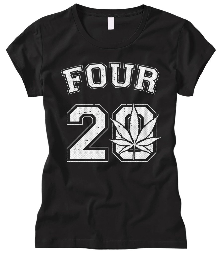 Cybertela Women's Four 20 Marijuana Weed 420 Fitted T-Shirt