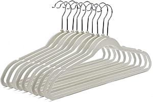 50 Ivory Quality Plastic Non Velvet Non-Flocked Thin Compact Hangers Ivory/Beige (50)