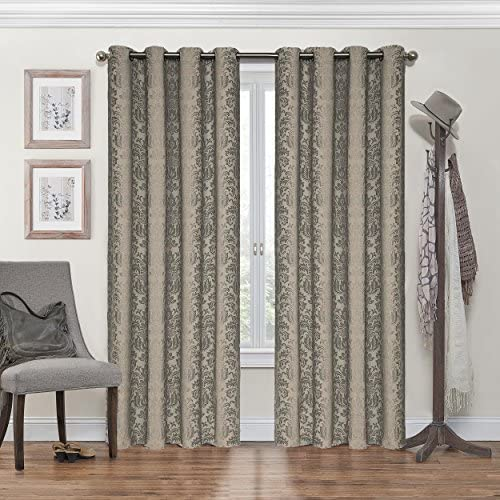 Eclipse Nadya Print Thermal Insulated Single Panel Grommet Top Darkening Curtains for Living Room, 52 x 84 , Black
