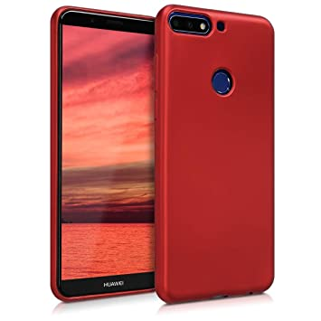 codice promozionale bb1c0 a9895 kwmobile TPU Silicone Case for Huawei Y7 (2018)/Y7 Prime (2018) - Soft  Flexible Shock Absorbent Protective Phone Cover - Metallic Dark Red
