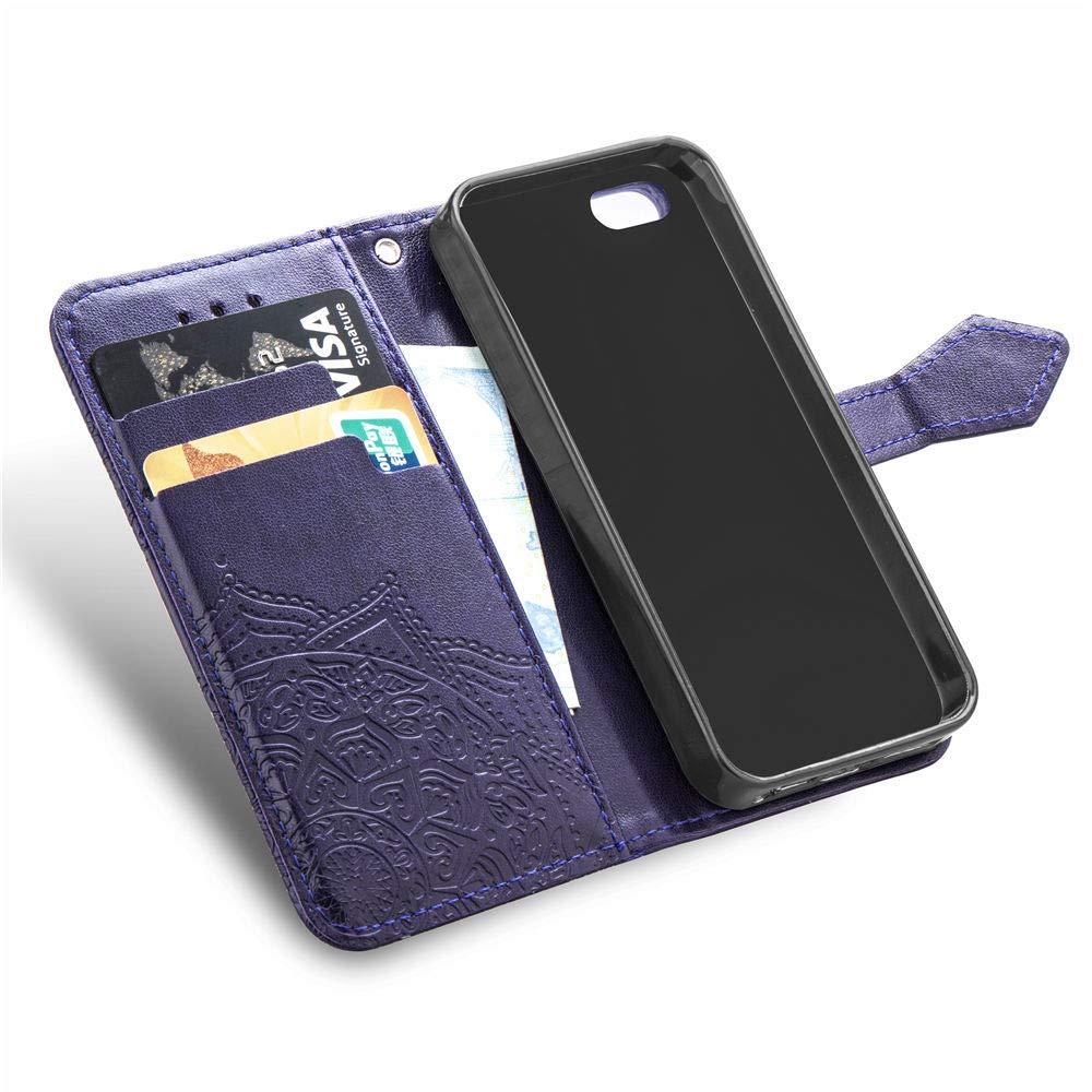 Alsoar ersatz f/ür iPhone 5// 5S// SE Handyh/ülle Mandala Schutzh/ülle Flip Case Tasche Leder Bookstyle Lederh/ülle f/ür iPhone 5// 5S// SE Ultra Slim Handytasche Wallet Stand Kredit Kartenf/ächer Lila
