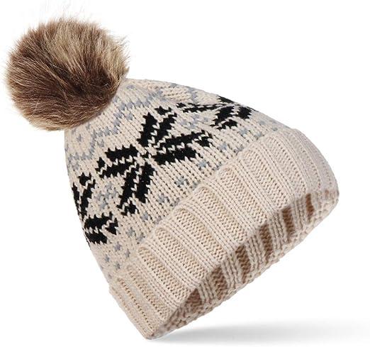 KFEK Nuevo Gran Sombrero de Lana de Copo de Nieve Grande Versión ...