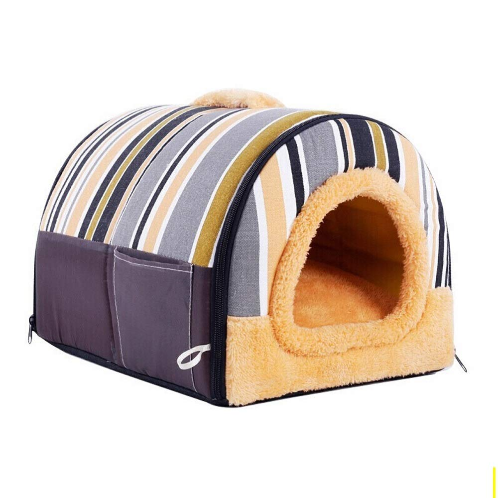 353025cm XMGJ Dog Houses Pet Nest Detachable Teddy Kennel Dog Supplies Dog Mats Removable House Brown Pet Supplies (Size   35  30  25cm)