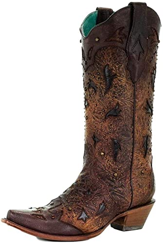 Corral Women's 14-inch Brown Embossed \u0026