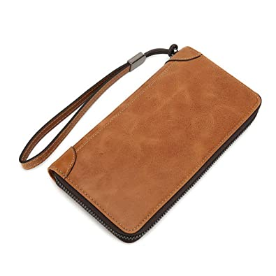 Color : Brass, Size : S MUMUWU Mens Wallet Fashion Buckle Leather Tri-fold Mens Bag Card Bag