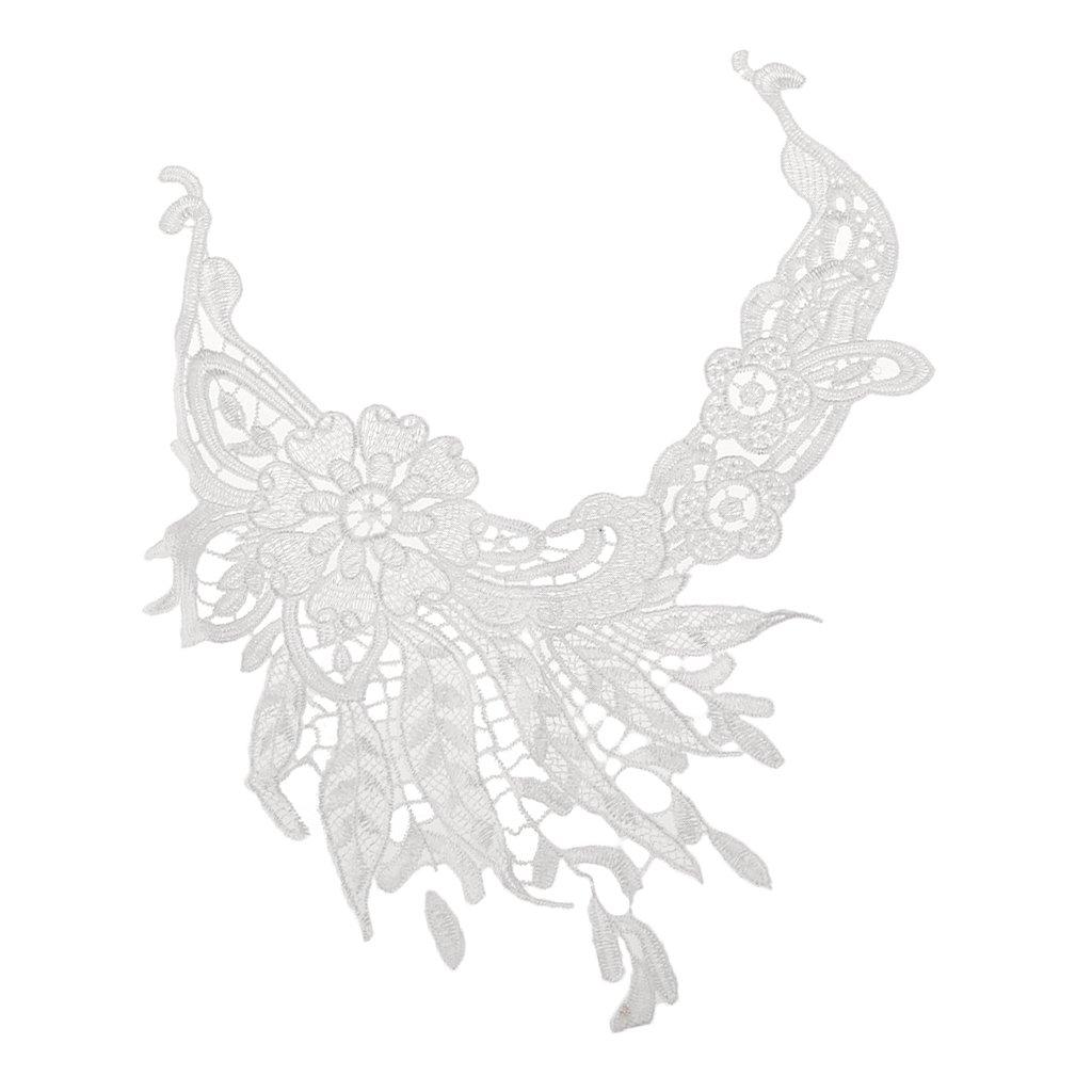 F Fityle Vintage Stickerei Blume Spitze Applique Halskragen Stoff Nähen Handwerk Trimmen Diy
