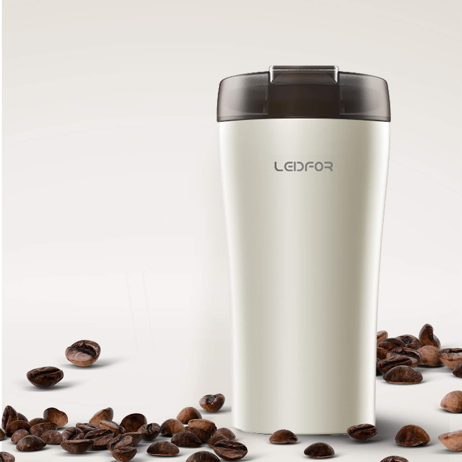Leidfor Stainless Steel Vacuum Insulated Coffee Travel Mug Tumbler Thermos Cup With Leakproof Lid 13-Ounce White