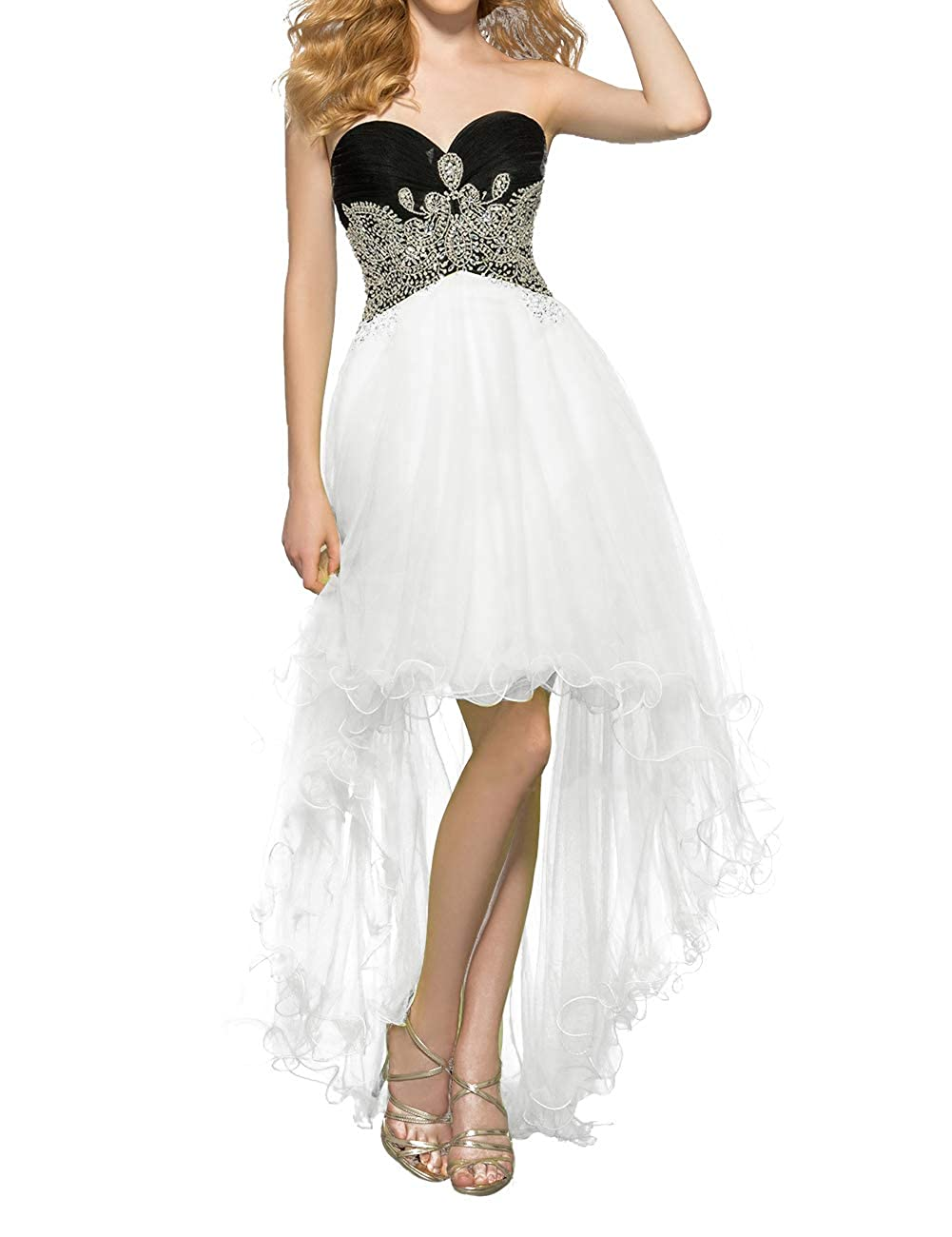 White Uther Women's Tulle HiLow Beaded Prom Dresses Strapless Evening Homecoming Cocktail Gowns