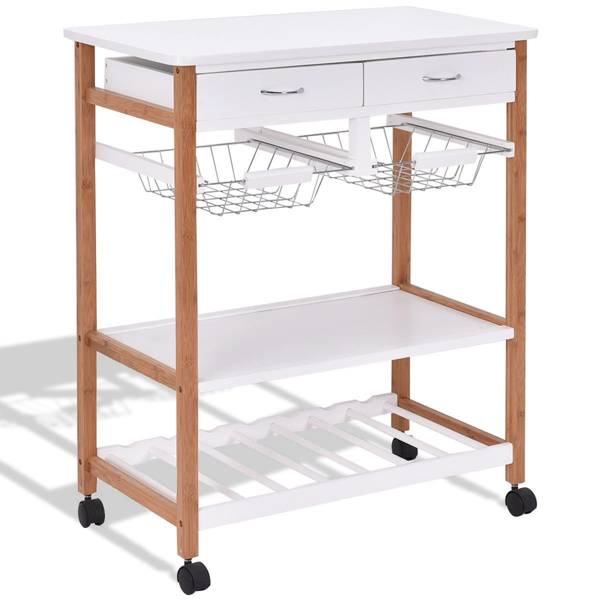 MD Group Kitchen Island Trolley Cart White Rolling Utility Serving Food Storage Furniture