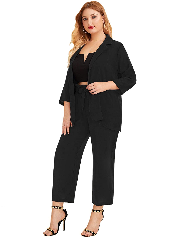 Milumia Women Elegant Plus Size 2 Pieces Outfits Lady Business Work Office 3//4 Sleeve Blazer and Pants Suit Set