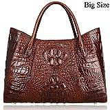 Pijushi Women Embossed Crocodile Handbag Designer Top Handle Handbags Holiday Gift 22198 (Coffee)