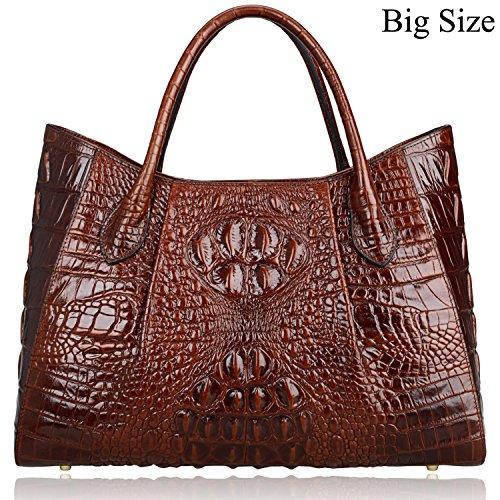PIJUSHI Women Handbags Crocodile Top Handle Bag Designer Satchel Bags For Women (22198 Coffee)