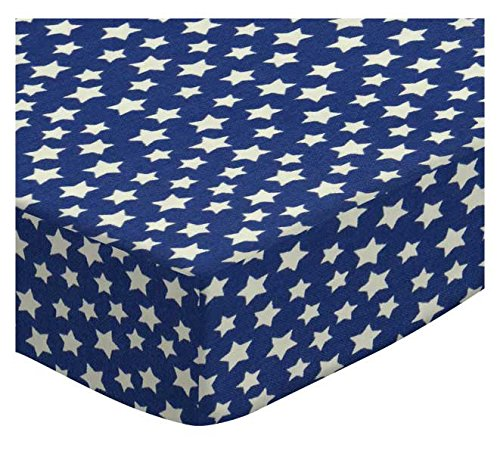 SheetWorld Fitted Cradle Sheet - Primary Stars White On Navy Woven - Made In USA