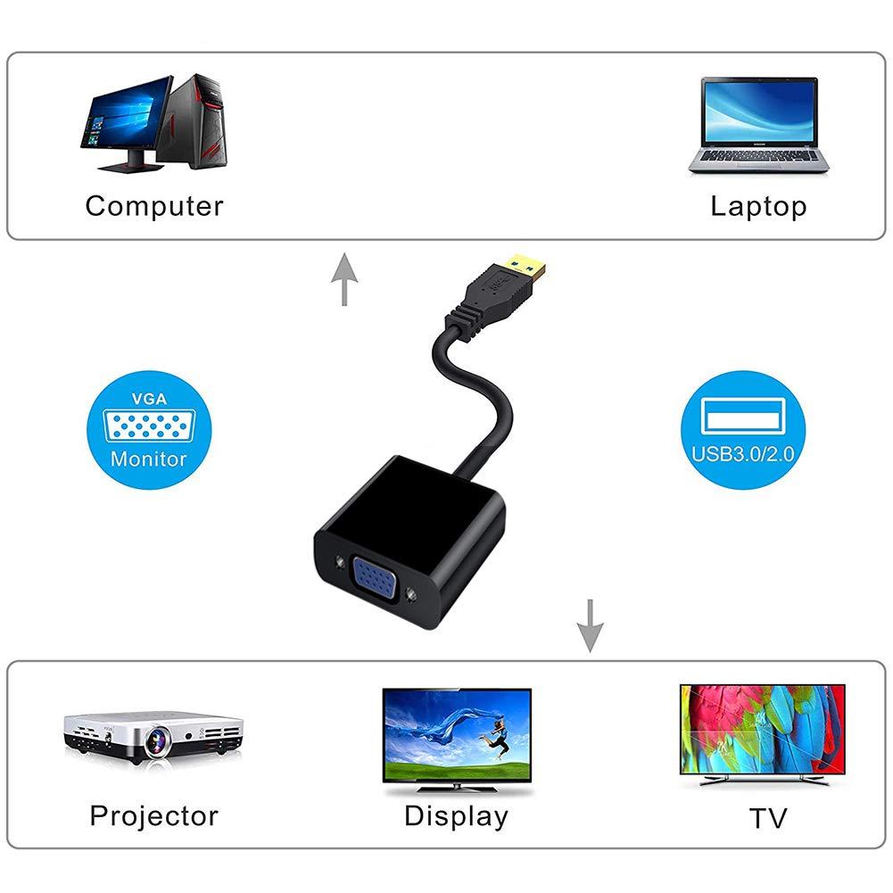 HOTSO USB a VGA Video Adattatore convertitore USB3.0 to VGA Adapter Display Cavo Adattatore Esterno per PC Portatile Windows 10//8.1//8// 7// XP