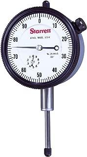 "product image for Starrett 25-441/5P Dial Indicator, 0.375"" Stem Dia., Lug-on-Center Back, White Dial, 0-100 Reading, 0-0.5"" Range, 0.001"" Graduation"