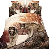 EsyDream 4Pc Sets Wolf Animal Bedding Sets,100% Polyester 3D Oil Wolf Dog Print Duvet Cover No Comforter Queen Size