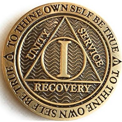 1 Year AA Medallion Reflex Antique Chocolate Bronze Chip: Toys & Games