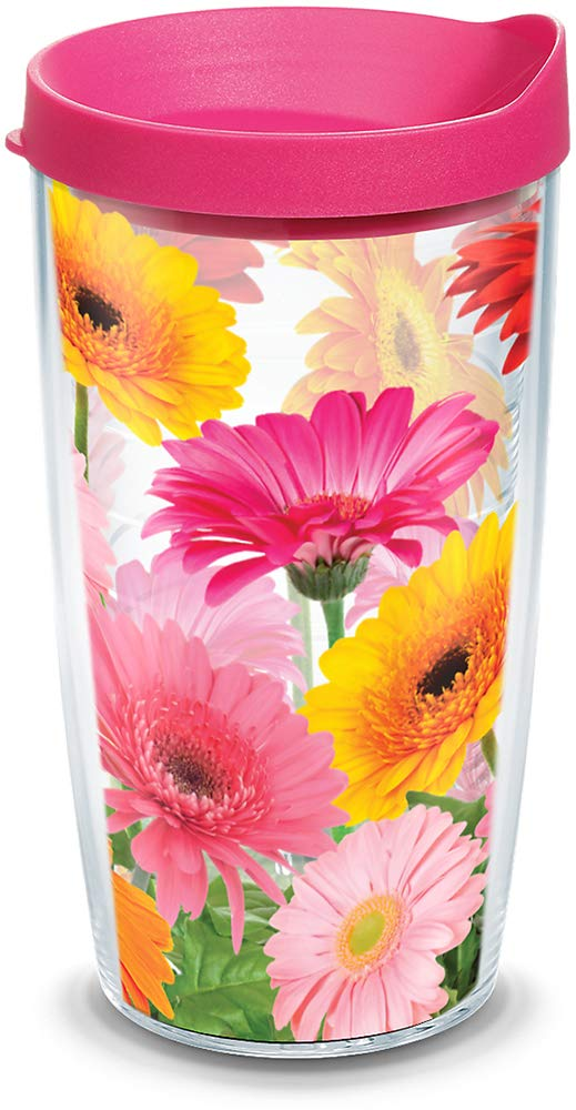Tervis 1076394 Gerbera Daisies Tumbler with Wrap and Fuchsia Lid 16oz, Clear