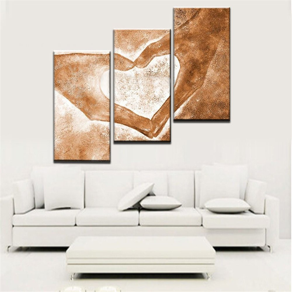 Modern Abstract 3 Piece Oil Painting on Canvas, Handpainted Love Paintings Wall Art for Living Room Home Decor Framed Stretched Ready to Hang, Yellow (28Wx42L inch) by Yatsen Bridge (Image #4)
