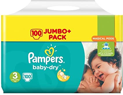 Pampers Pañales Baby-Dry Talla 3 100 Jumbo pack
