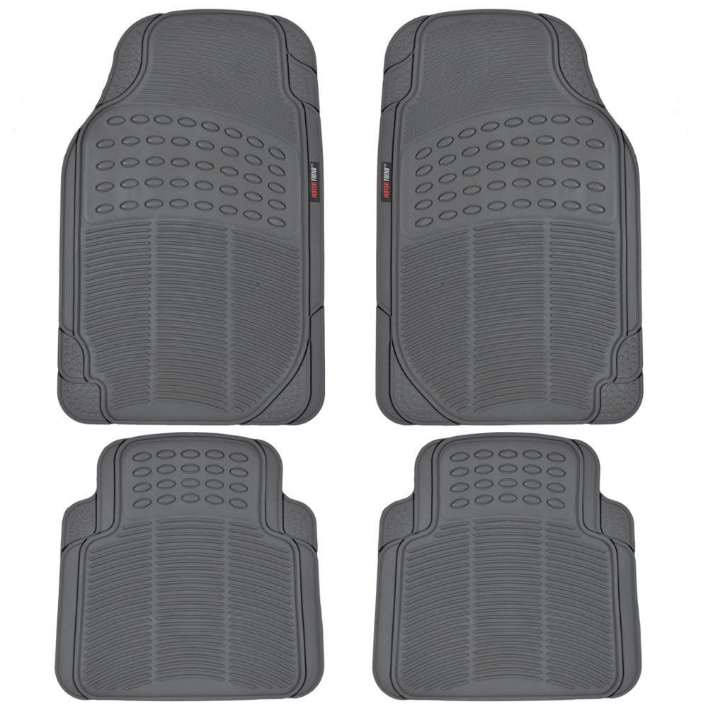 Beige MotorTrend MT-754-BG Universal Fit Odorless Premium Heavy Duty All Weather Maximum Protection Car Floor Mat Rubber 4 Pack