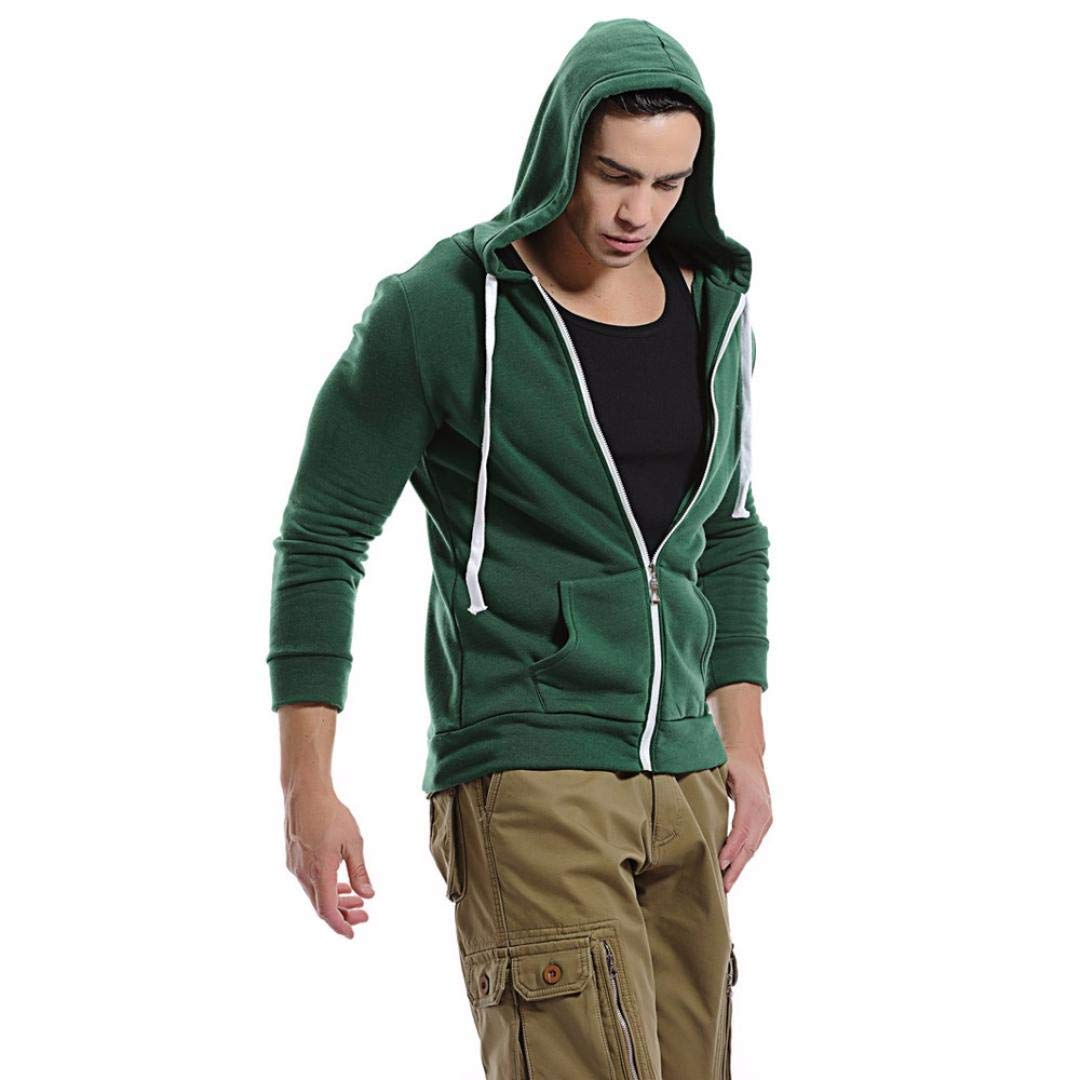 a9eefb8c49895 Amazon.com: Amiley mens hoodies,Unisex Solid Hoodie Tops Casual Full Zip  Pockets Hooded Sweatshirt Plus Size (Medium, Green): Shoes