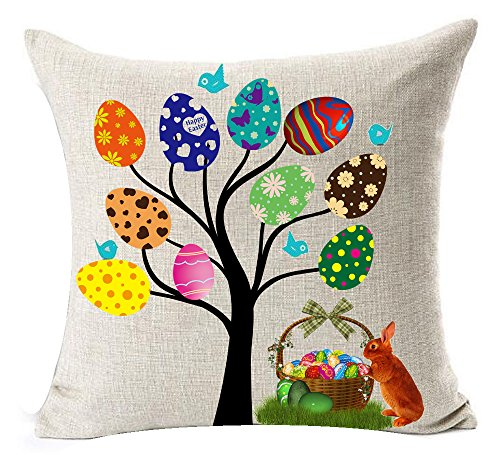 Best Spring Gift Season's Greetings Happy Easter Beautiful Large Big Color Eggs Tree Flower Basket Bunny Rabbit New Home Room Decorative Cotton Linen Throw Pillow Case Cushion Cover Square 18 Inches