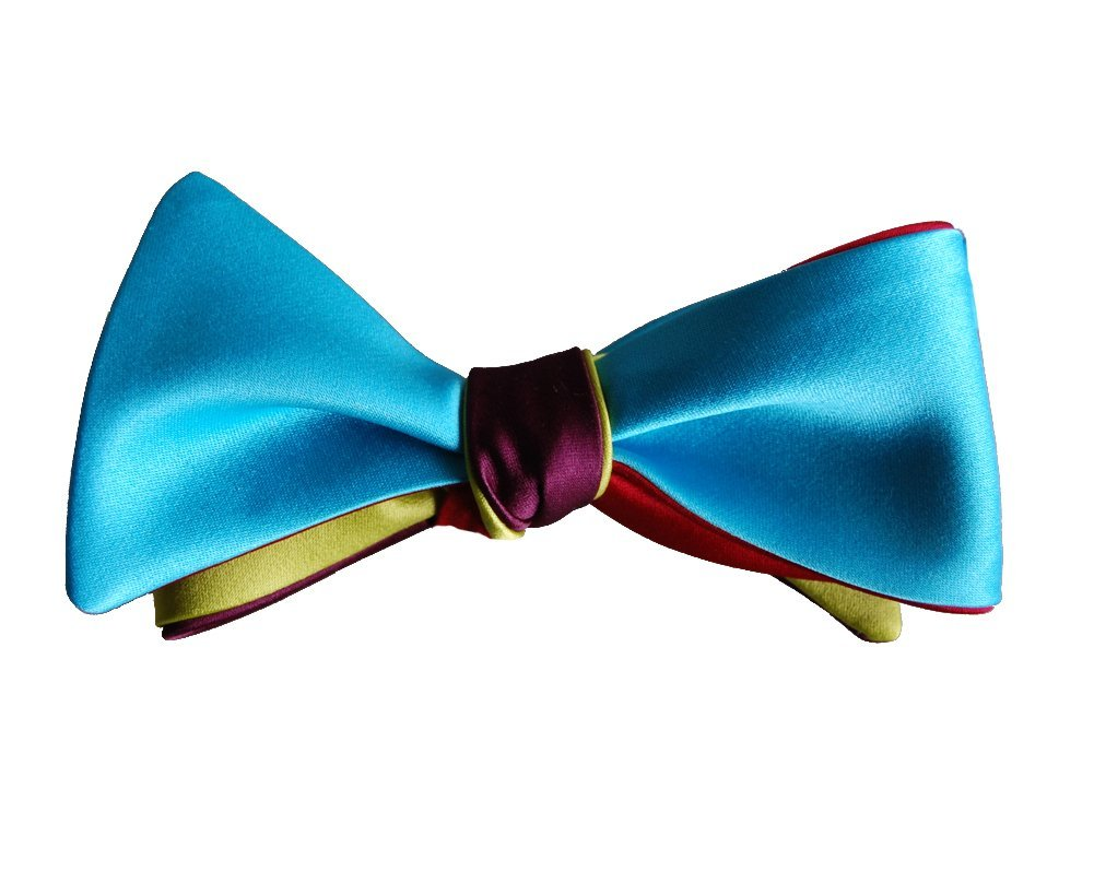 Knot Theory Men's 16-Way Bow Tie One Size Rose Red/Turquoise Blue/Merlot Purple/Citrus Green