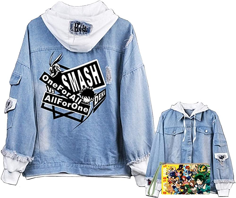 My Hero Academia Anime Denim Giacca Unisex Cartoni Animati Eroe Cosplay Jeans Cappotto Adolescenti Street Manga My Hero Academia Denim Felpa