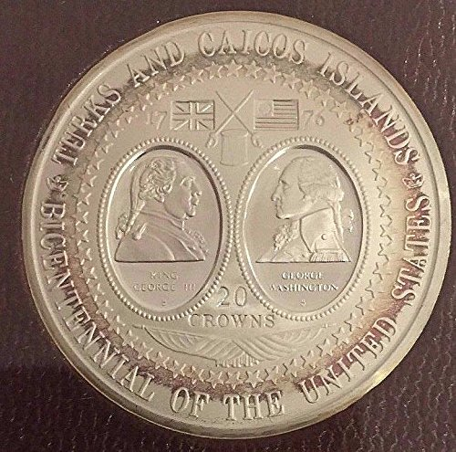 1976 unknown Turks Caicos Islands 1976 Silver 20 Crowns US Bic coin Good