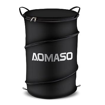 Aomaso Pop-Up Laundry Hamper Wäschekorb Wäschebox Wäschetruhe Wäschekiste  Nylon Wäschesammler Wäschetonne mit Deckel - Schwarze