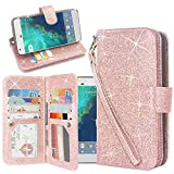 Moto Z2 Play Case, Linkertech Glitter Shiny Luxury PU Leather Flip Pouch Wallet Case Cover with 12 Card Slots and Wrist Strap for Motorola Moto Z2 Play (2017) (Glitter Rose Gold)