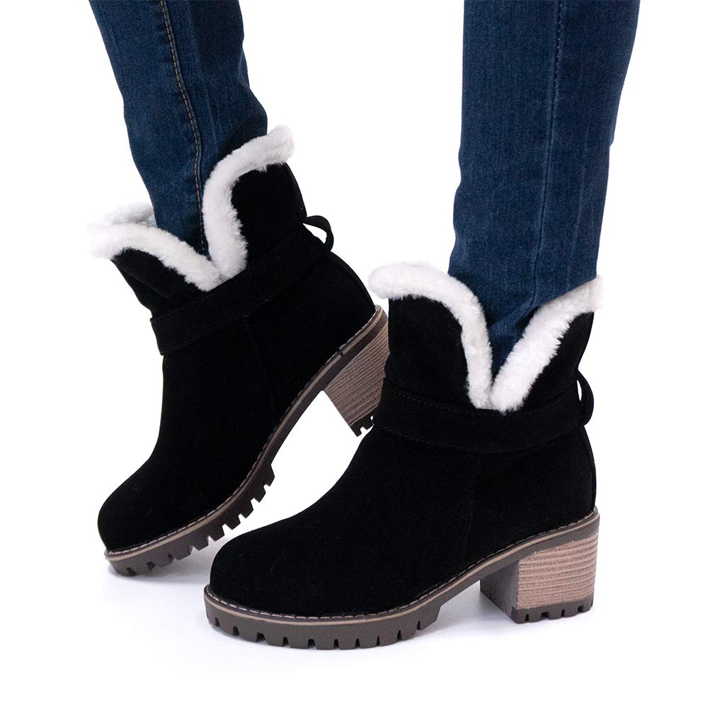 Botas Mujer Invierno Tacon Ancho Botines Plataforma Botas Nieve Forradas Zapatos/Tacon/Medio Antideslizante 6cm Beige Negras Verde 34-43 EU