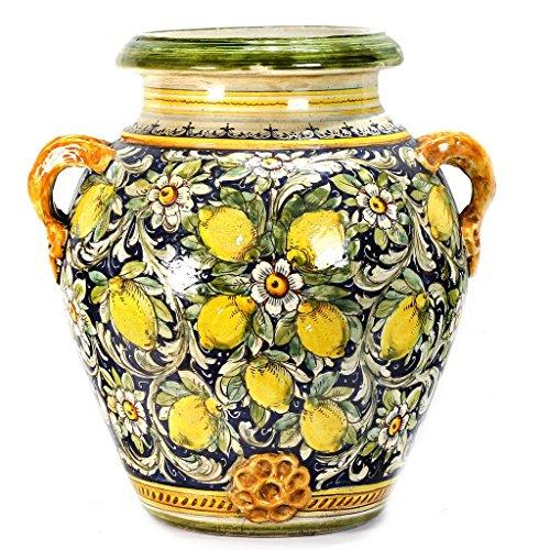 MAJOLICA TOSCANA: Orcio Urn ~ Limoni Fondo Blue Design (Italian Pottery Deruta Urns)